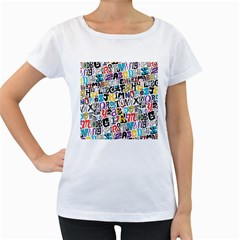 Alpha Pattern Women s Loose-Fit T-Shirt (White)