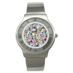 Alpha Pattern Stainless Steel Watch