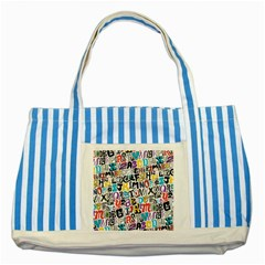 Alpha Pattern Striped Blue Tote Bag