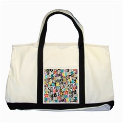 Alpha Pattern Two Tone Tote Bag