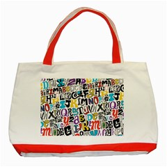 Alpha Pattern Classic Tote Bag (Red)
