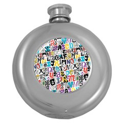 Alpha Pattern Round Hip Flask (5 oz)