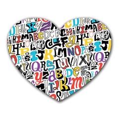 Alpha Pattern Heart Mousepads