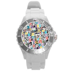 Alpha Pattern Round Plastic Sport Watch (L)