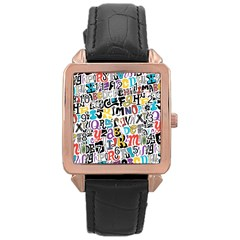 Alpha Pattern Rose Gold Leather Watch