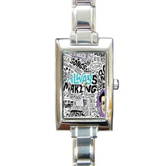 Always Making Pattern Rectangle Italian Charm Watch