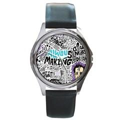 Always Making Pattern Round Metal Watch