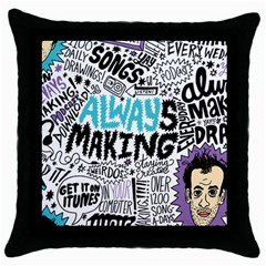 Always Making Pattern Throw Pillow Case (black)