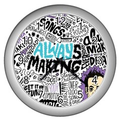 Always Making Pattern Wall Clocks (Silver)