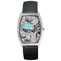 Always Making Pattern Barrel Style Metal Watch