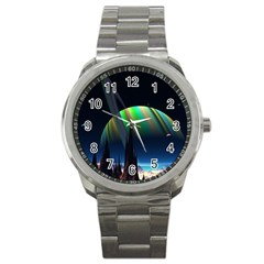 Planets In Space Stars Sport Metal Watch