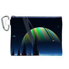 Planets In Space Stars Canvas Cosmetic Bag (XL)