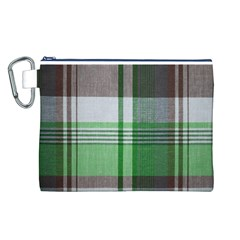 Plaid Fabric Texture Brown And Green Canvas Cosmetic Bag (L)