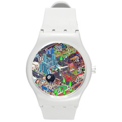 Pixel Art City Round Plastic Sport Watch (M)