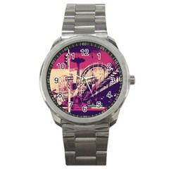 Pink City Retro Vintage Futurism Art Sport Metal Watch