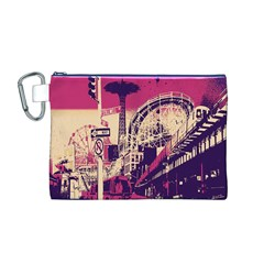 Pink City Retro Vintage Futurism Art Canvas Cosmetic Bag (M)