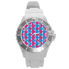 Pink And Bluedots Pattern Round Plastic Sport Watch (L)