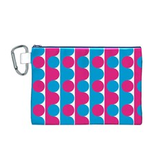 Pink And Bluedots Pattern Canvas Cosmetic Bag (M)