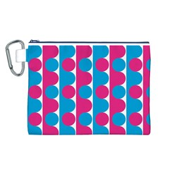 Pink And Bluedots Pattern Canvas Cosmetic Bag (L)