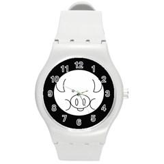 Pig Logo Round Plastic Sport Watch (M)