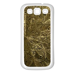 Peacock Metal Tray Samsung Galaxy S3 Back Case (White)