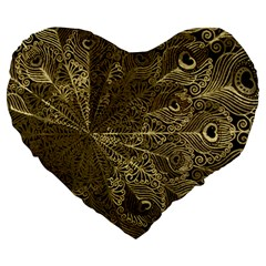 Peacock Metal Tray Large 19  Premium Flano Heart Shape Cushions