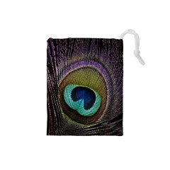 Peacock Feather Drawstring Pouches (Small)