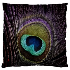 Peacock Feather Large Flano Cushion Case (One Side)