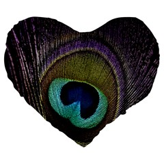 Peacock Feather Large 19  Premium Flano Heart Shape Cushions