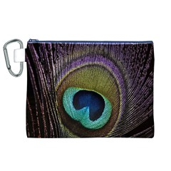 Peacock Feather Canvas Cosmetic Bag (XL)