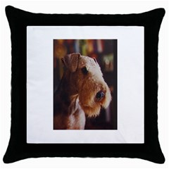 Airedale Terrier Throw Pillow Case (Black)