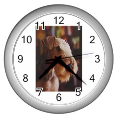 Airedale Terrier Wall Clocks (Silver)