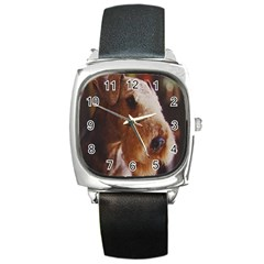 Airedale Terrier Square Metal Watch