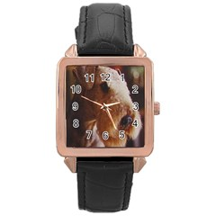 Airedale Terrier Rose Gold Leather Watch