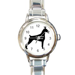 Doberman Pinscher Name Silhouette Black Round Italian Charm Watch