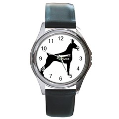 Doberman Pinscher Name Silhouette Black Round Metal Watch