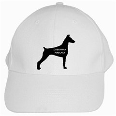 Doberman Pinscher Name Silhouette Black White Cap