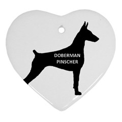 Doberman Pinscher Name Silhouette Black Ornament (Heart)