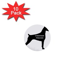 Doberman Pinscher Name Silhouette Black 1  Mini Buttons (10 pack)