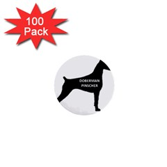 Doberman Pinscher Name Silhouette Black 1  Mini Buttons (100 pack)