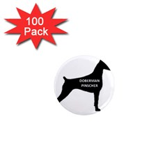 Doberman Pinscher Name Silhouette Black 1  Mini Magnets (100 pack)