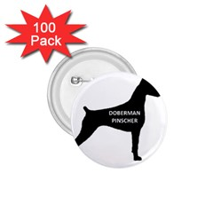 Doberman Pinscher Name Silhouette Black 1.75  Buttons (100 pack)