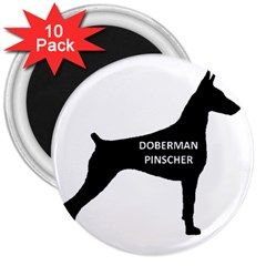 Doberman Pinscher Name Silhouette Black 3  Magnets (10 pack)