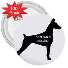 Doberman Pinscher Name Silhouette Black 3  Buttons (100 pack)