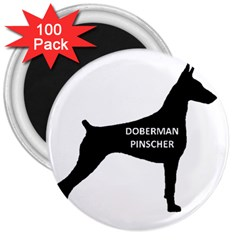 Doberman Pinscher Name Silhouette Black 3  Magnets (100 pack)