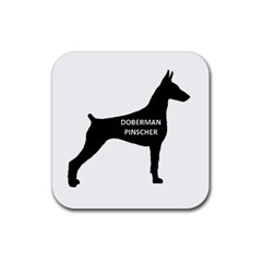 Doberman Pinscher Name Silhouette Black Rubber Square Coaster (4 pack)