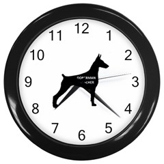 Doberman Pinscher Name Silhouette Black Wall Clocks (Black)