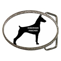 Doberman Pinscher Name Silhouette Black Belt Buckles