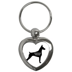 Doberman Pinscher Name Silhouette Black Key Chains (Heart)