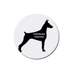Doberman Pinscher Name Silhouette Black Rubber Coaster (Round)